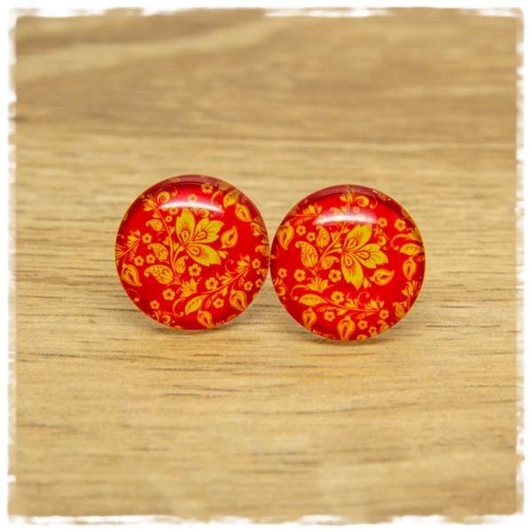 1 Paar Ohrstecker mit floralem Muster in rot und gelb