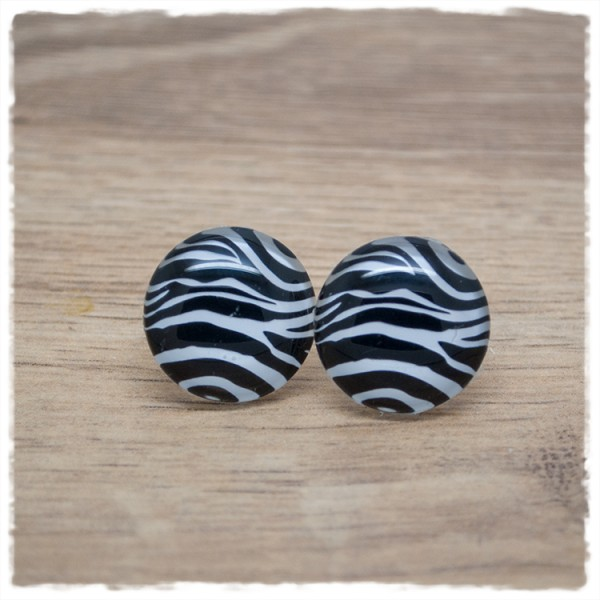 1 Paar Ohrstecker Animal Print Zebra