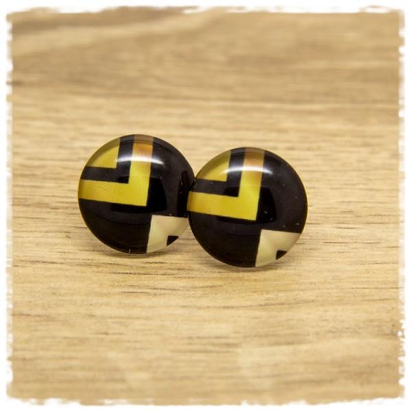 1 Paar Ohrstecker schwarz mit goldenem Muster