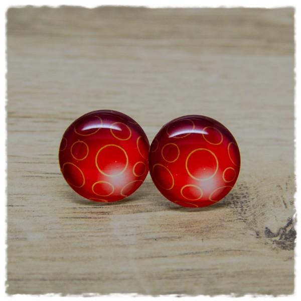 1 Paar Ohrstecker in 20 mm rot mit Ringen