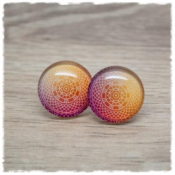 1 Paar Ohrstecker mit rot orangem Mandala