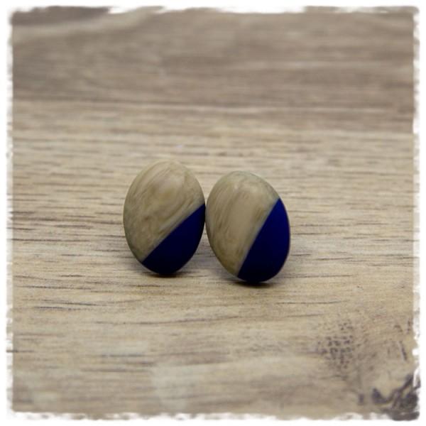 1 Paar kleine Ohrstecker in Tropfenform Holzoptik und blau