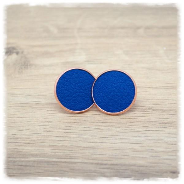 1 Paar Lederohrstecker blau mit rose Fassung