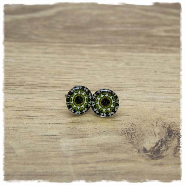 1 Paar Ohrstecker in 12 mm mit grünem Mandala