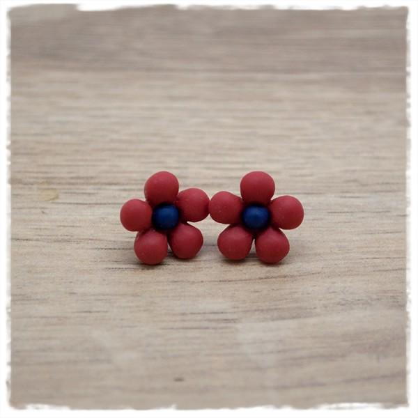 1 Paar Ohrstecker in 14 mm dunkelrote Blüte