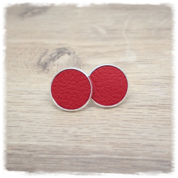 1 Paar Lederohrstecker rot mit silberner Fassung