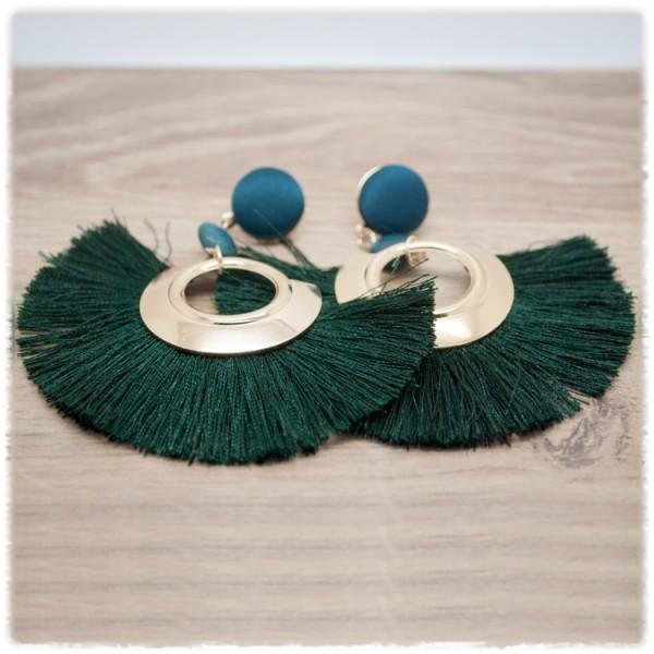 1 Paar Fransenohrhänger in gold mit dunkelgrün
