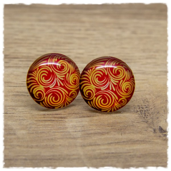 1 Paar Ohrstecker rot mit goldenem Muster