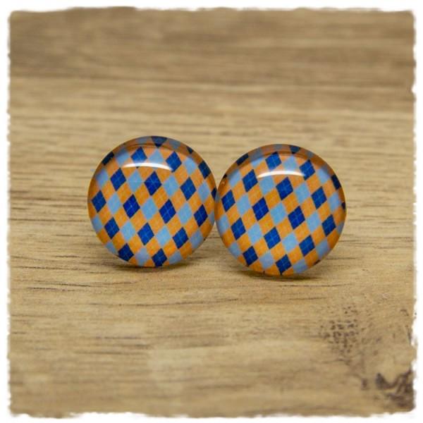 1 Paar Ohrstecker mit blauen, hellblauen und orangenen Rauten