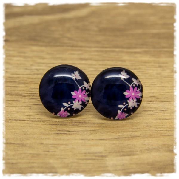 1 Paar Ohrstecker dunkelblau mit weißen und pinken Blüten