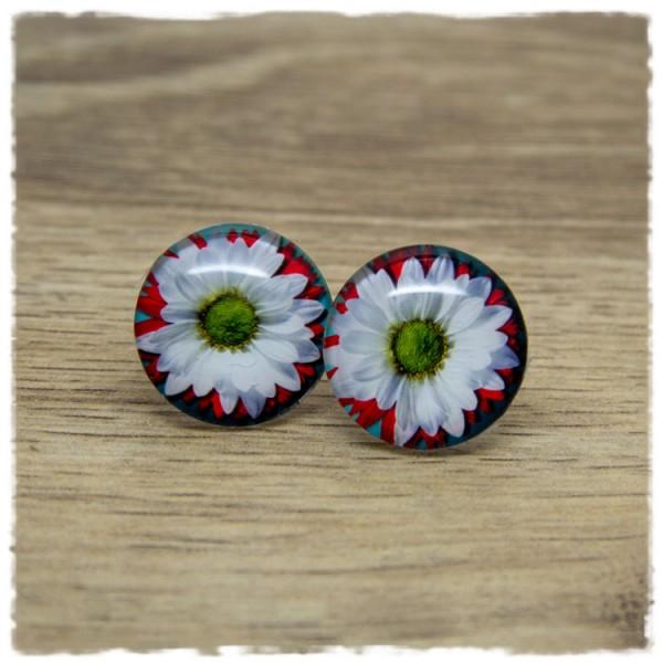 1 Paar Ohrstecker mit rot-weißer Blüte