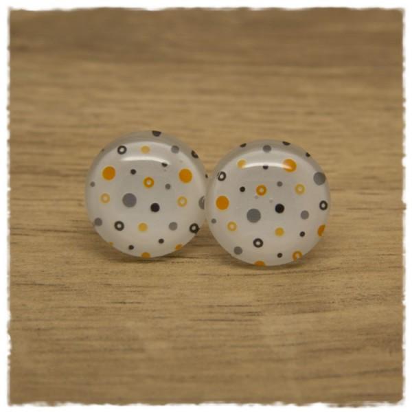 1 Paar Ohrstecker in 12 mm weiß mit mehrfarbigen Punkten