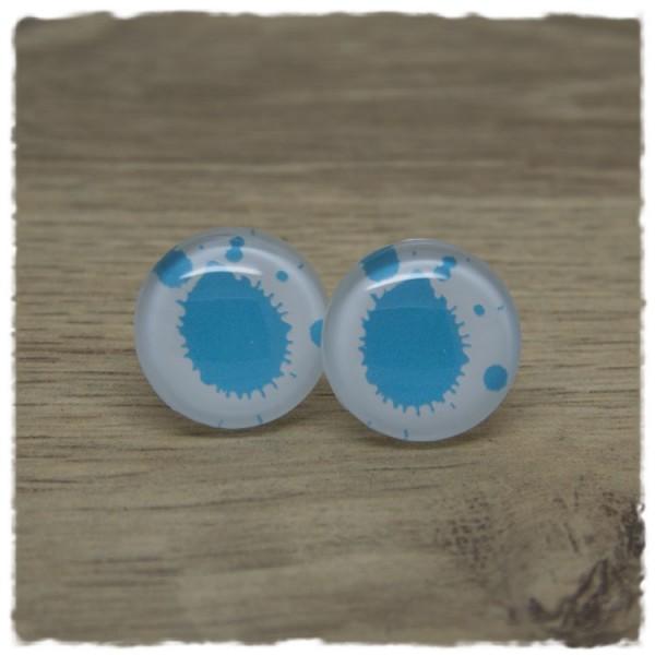 1 Paar Ohrstecker in 20 mm weiß mit blauen Klecksen