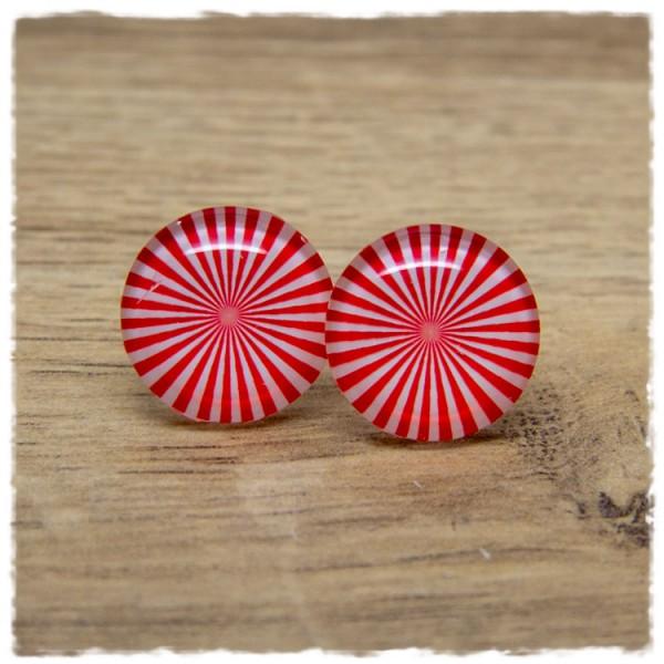 1 Paar Ohrstecker rot weiß gemustert