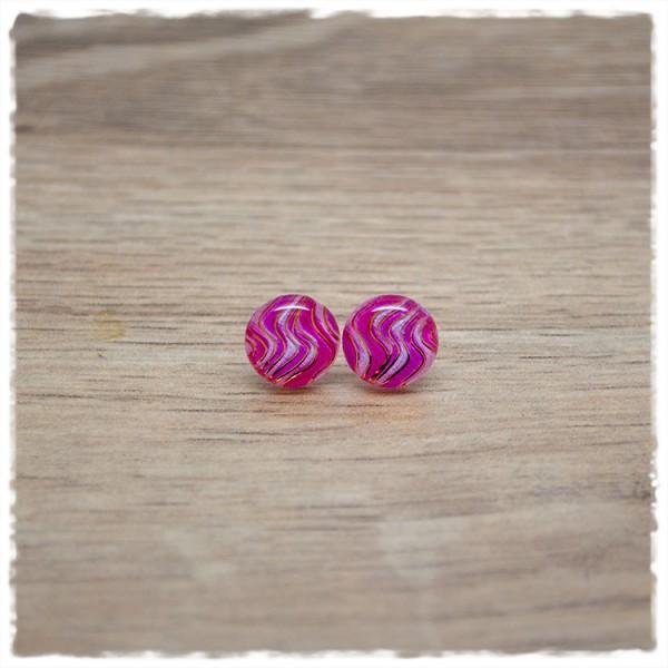 1 Paar Ohrstecker in 10 mm pink mit rosa Wellen