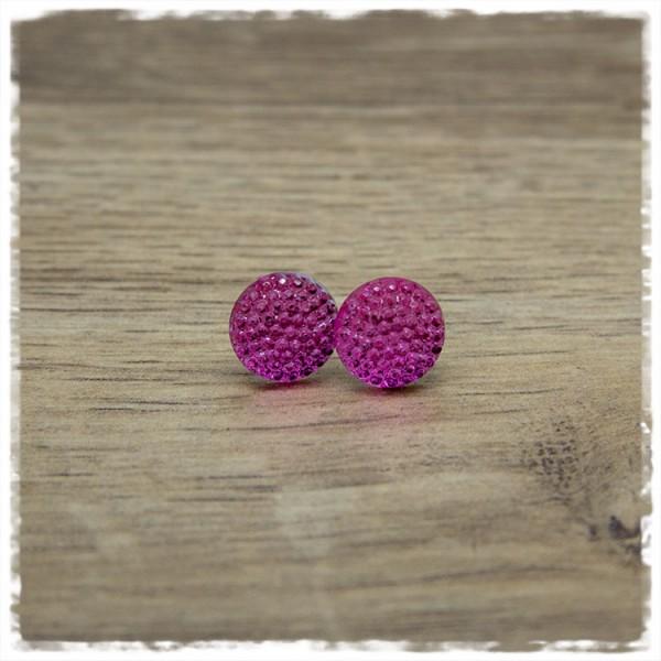 1 Paar Ohrstecker in 12 mm rosa metallic mit Struktur