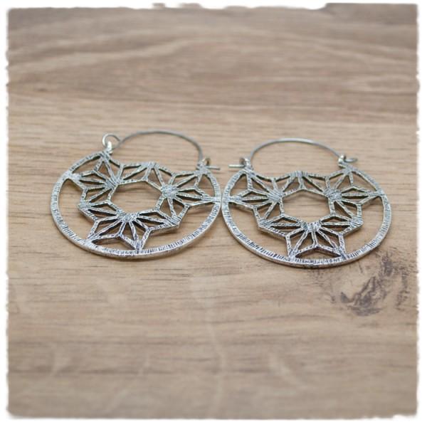 1 Paar Ohrhänger in 40 mm Boho rund silber