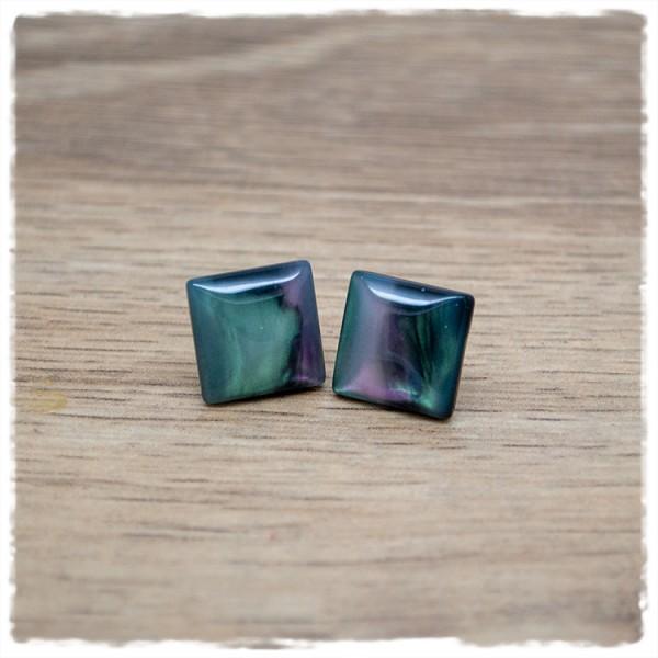 1 Paar Ohrstecker in 14 mm quadratisch Regenbogen marmoriert