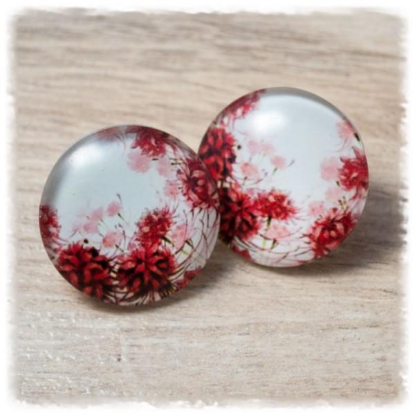 1 Paar Ohrstecker in 25 mm mit roten Blumen auf weißem Hintergrund (wahlweise als Ohrclips)