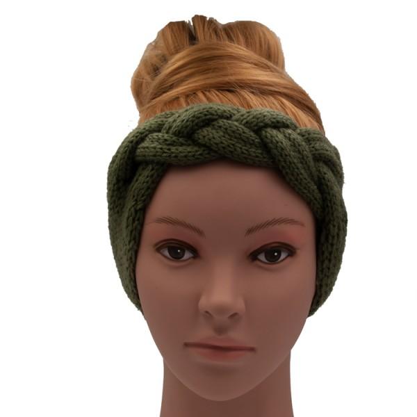 Wollstirnband geflochten olivgrün