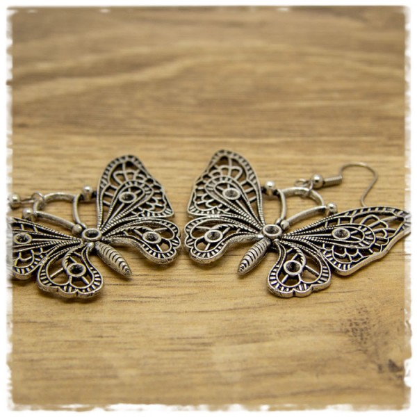 1 Paar Ohrhänger 50 mm silberner Schmetterling
