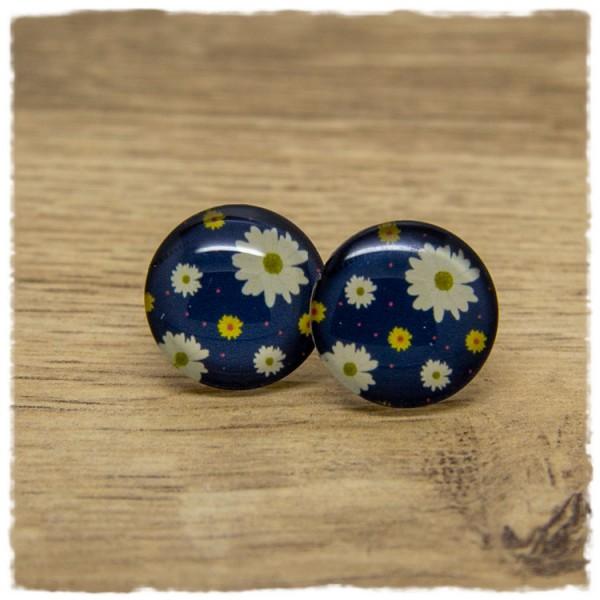 1 Paar Ohrstecker dunkelblau mit weißen und gelben Blüten