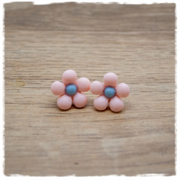 1 Paar Ohrstecker in 14 mm rosane Blüte