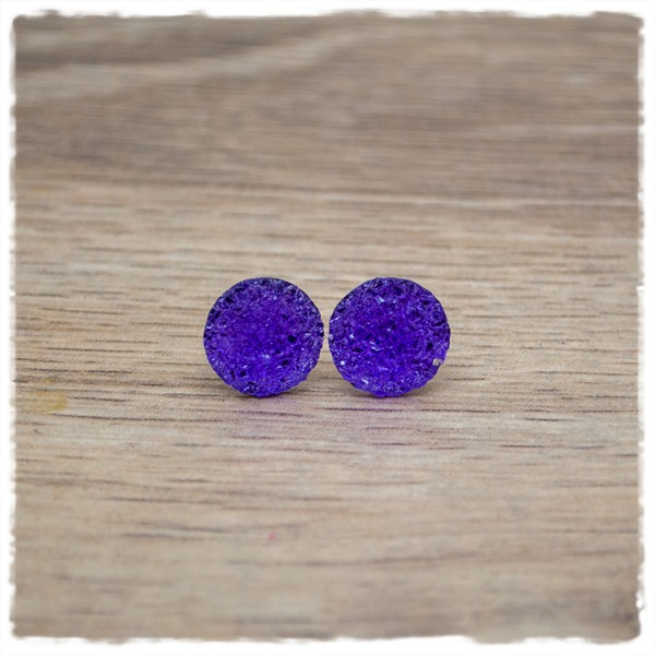 1 Paar Glitzerohrstecker in 12 mm lila