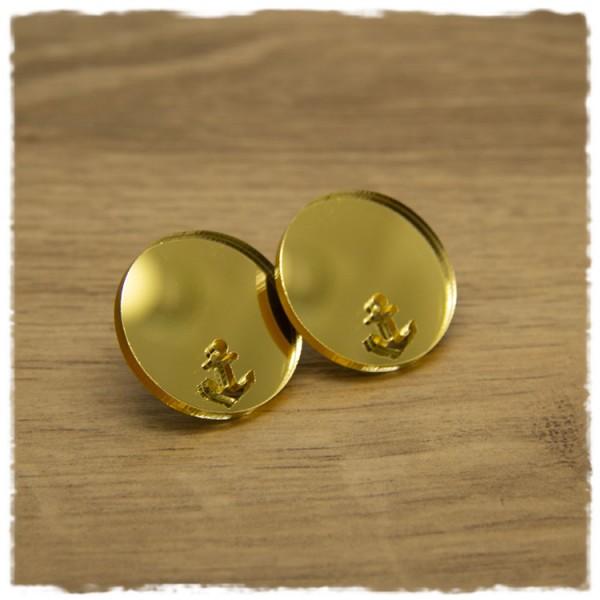1 Paar flache Ohrstecker 25 mm gold spiegelnd mit Ankerausschnitt