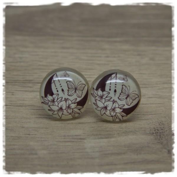 1 Paar Ohrstecker in 20 mm beige mit Mond und Schmetterlingen