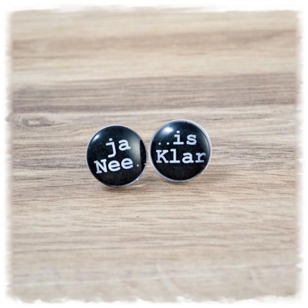 """1 Paar Ohrstecker in 16 mm """"ja NEE is Klar"""" (wahlweise als Ohrclips)"""