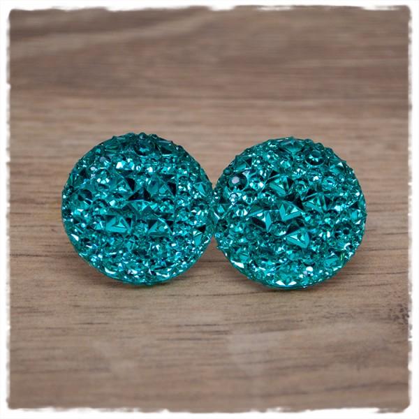 1 Paar Glitzerohrstecker in 25 mm turquoise