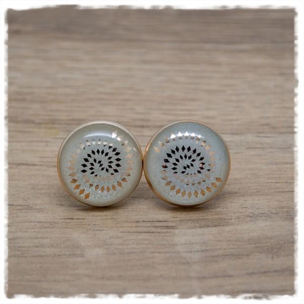 1 Paar Ohrstecker 18 mm weiß mit goldenem Muster