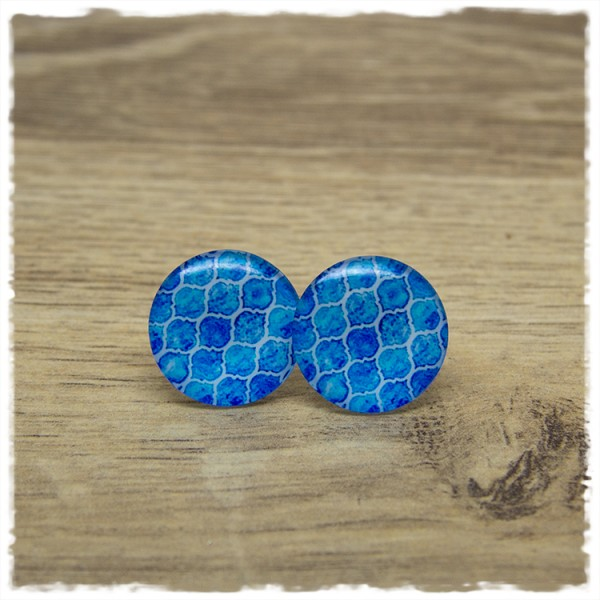 1 Paar Ohrstecker in 20 mm mit blauem Muster