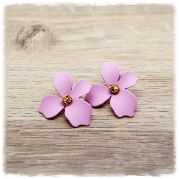 1 Paar Ohrstecker in 25 mm rosa Blüte