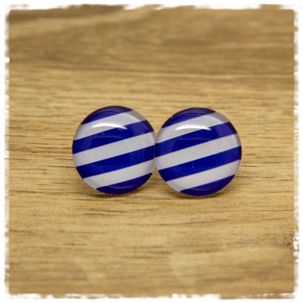 1 Paar Ohrstecker blau weiß gestreift