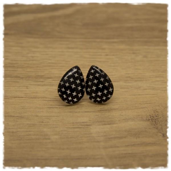 1 Paar kleine Ohrstecker in Tropfenform schwarz mit weißen Kreuzen