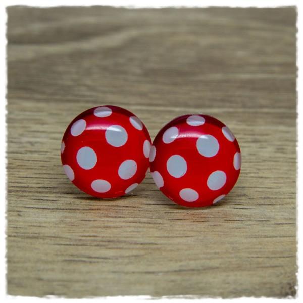1 Paar Ohrstecker rot mit weißen Punkten