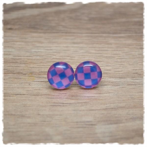 1 Paar Ohrstecker in 12 mm lila rosa kariert