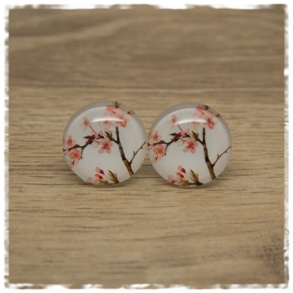 1 Paar Ohrstecker Ast mit rosa Blüten