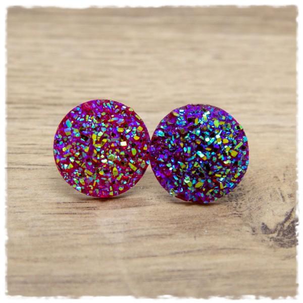 1 Paar Glitzerohrstecker in 20 mm pink