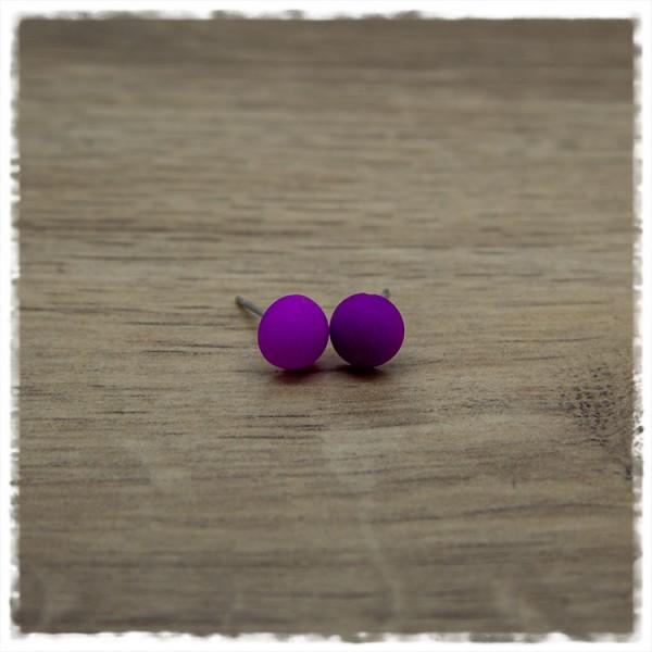 1 Paar Ohrstecker in 8 mm einfarbig matt lila