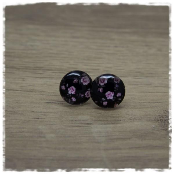 1 Paar Ohrstecker 14 mm schwarz mit rosa Rosen