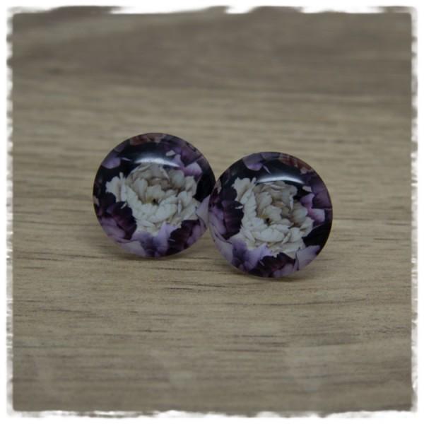 1 Paar Ohrstecker mit lila und beigen Blüten