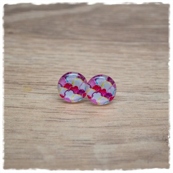 1 Paar Ohrstecker in 12 mm mit weißen und roten Blüten