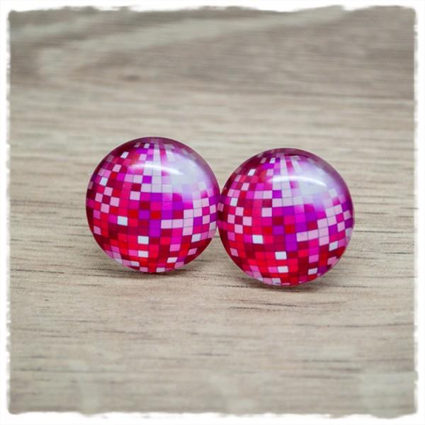 1 Paar Ohrstecker Discokugel pink