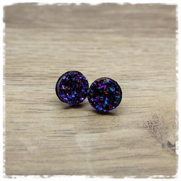 1 Paar Ohrstecker in 12 mm violetter Glitzer