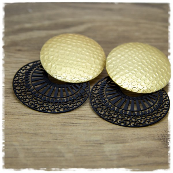 1 Paar Ohrstecker in 35 mm schwarz mit goldener Struktur