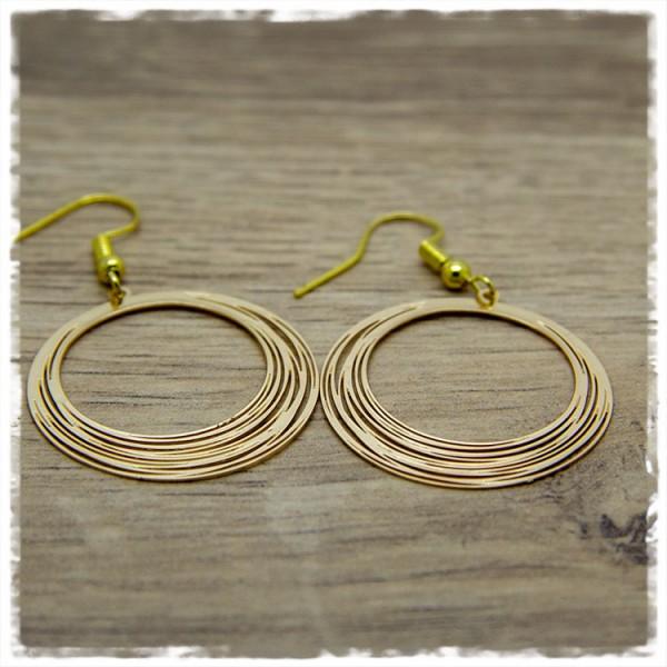 1 Paar Ohrhänger in 30 mm rund golden