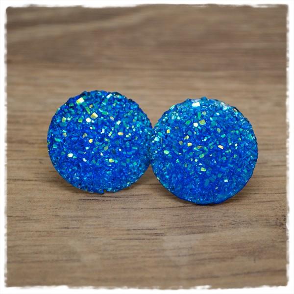 1 Paar Glitzerohrstecker in 25 mm blau